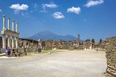 Panoramic View Of The Ancient City, The Ruined Ancient Columns And The Volcano Vesuvius, Pompeii (sc poster