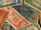 Vintage Money Of Communist Countries And Dollar Notes poster