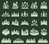 Forest Tree Vector Silhouette Outdoor Travel Green Silhouette Forest Logo Coniferous Natural Badge T poster