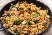 Asian Fried Egg Noodles With Chicken And Vegetables In The Pan Just Cooked. Fresh And Tasty Asian St poster