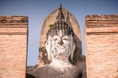 The Face Of A Large Buddha Is Magical And Ancient With A Blue Background.white Face Of A Large Buddh poster