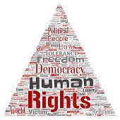 Conceptual human rights political freedom, democracy triangle arrow  word cloud isolated background. poster