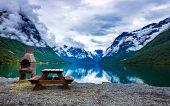 Beautiful Nature Norway natural landscape. lovatnet lake. poster