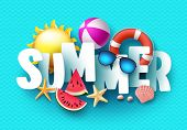 Summer 3d Text Vector Banner Design With White Title And Colorful Tropical Beach Elements In Blue Pa poster