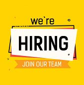 We Are Hiring, Join Our Team Lettering With Abstract Frame On Yellow Background. Inscription Can Be  poster
