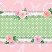 Shabby Chic Textile Seamless Pattern Background. Girly. Different Fabric Pieces Collage, Decorated W poster