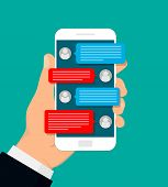 Hand Holding Smartphone. Man Chatting With Chat Bot. Vector Illustration. Flat Design. poster