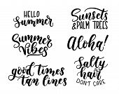Summer Calligraphy Set.big Set Of Summer Quotes Isolated On White Background. Hello Summer. Sunsets  poster