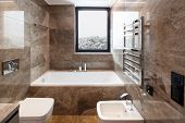 Luxurious marble bathroom with window. Nobody inside poster
