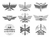 Labels An Logos For Military Aviation. Aviator Symbols In Monochrome Style. Aviation And Airplane Em poster