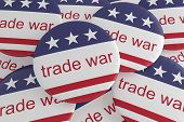 Usa Politics News Badges: Pile Of Trade War Buttons With Us Flag, 3d Illustration poster
