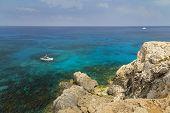 Seascape With Rocks , Shore Of The Mediterranean Sea. Coast Of Cyprus, Ayia Napa. poster