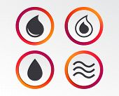Water Drop Icons. Tear Or Oil Drop Symbols. Infographic Design Buttons. Circle Templates. Vector poster