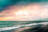 Beautiful Summer Seascape With Mountains Silhouette. Cloudy Purple Pink Sky With Sunrays Through The poster