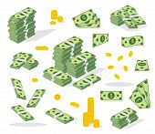 Set A Various Kind Of Money. Banking Process. Packing In Bundles Of Bank Notes, Bills Fly, Gold Coin poster