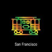 San Francisco, United States Vector Line Icon. San Francisco Landmark - Emblem - Print - Label - Sym poster
