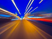 Speed Motion On The Neon Glowing Road At Dark. Speed Motion On The Road. Colored Light Streaks Accel poster
