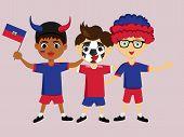 Постер, плакат: Fan Of Haiti National Football Hockey Basketball Team Sports Boy With Haitiflag In The Colors Of