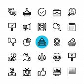 Politics, Elections Line Icons Set. Modern Graphic Design Concepts, Simple Outline Elements Collecti poster