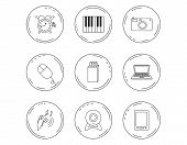 Photo Camera, Usb Flash And Notebook Laptop Icons. Pc Mouse, Alarm Clock And Web Camera Linear Signs poster
