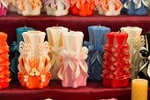 Wick, Paraffin Or Wax Od Various Colors, Decor. Candles On Shelf In Decoration Shop. Decor, Design,  poster