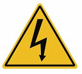 High Voltage Triangular Warning Sign On White Background. High Voltage Sign. Lightning Warning Black poster