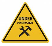 Under Construction Triangular Warning Sign On White Background. Under Construction Sign. Under Const poster