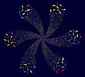 Psychedelic Human Footprint Spiral Fireworks On A Dark Background. Psychedelic Cycle Designed From R poster