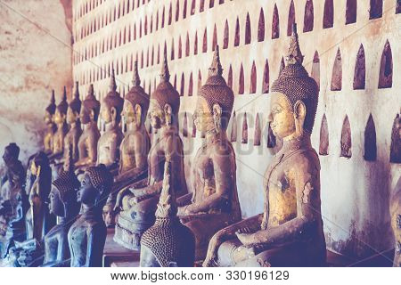 poster of Laos, Old Buddha Image In Wat Sisaket Popular Place To Visit In Vientiane City And Landmark, Old Bud