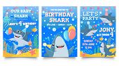 Invitation Card With Cute Sharks. Baby Shark Birthday Party, Sharks Family Celebrate Children Birthd poster
