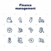 Finance Management Line Icon Set. Cash Delivery Vehicle, Funnel, Report. Money Concept. Can Be Used  poster