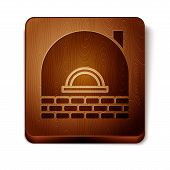 Brown Brick Stove Icon Isolated On White Background. Brick Fireplace, Masonry Stove, Stone Oven Icon poster