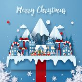Origami Paper Art Of Postcard Christmas Train In Town On A Big Gift Box With Santa Claus Merry Chris poster