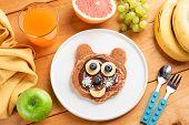 Funny Breakfast Pancake For Kids. Food Art. Childhood Motherhood Concept. Pancake With Chocolate Spr poster