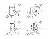 Mobile Survey, Like And Hold Smartphone Line Icons Set. Bitcoin Project Sign. Phone Quiz Test, Thumb poster