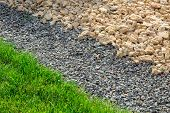 Landscaping Yard With Rows Of Stones Scattered With Green Lawn, Close Up Decor Detail. poster
