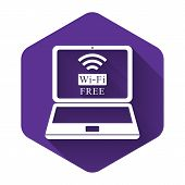 White Laptop And Free Wi-fi Wireless Connection Icon Isolated With Long Shadow. Wireless Technology, poster