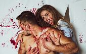 Couple In Blood. Terrifying Zombie Couple. Blood Lust. Zombie. Happy Halloween poster