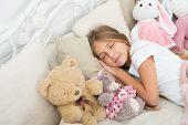 Play Soft Toy Before Go Sleep. Sleep With Toy. Carefree Childhood. Relaxing Before Sleep. Girl Enjoy poster