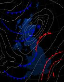 United Kingdom. Weather Map Of The Great Britain. Meteorological Forecast On A Dark Background. Edit poster