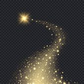 Magic Realistic Stars. Glowing Shape From Sparks Spiral Motion Graphic Bokeh Glitter Falling Golden  poster