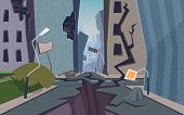 Damaged City. Destroyed Urban Landscape Cracked Ground And Houses Collapsed Nature Disaster Faults V poster