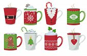 Christmas Cup. Holiday Hot Coffee Drinks Mug Decoration Vector Christmas Design. Christmas Drink Cof poster