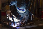 Welder, Craftsman, Erecting Technical Steel Industrial Steel Welder In Factory poster