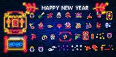 Big Collection Design Card For Chinese New Year. Chinese New Year Neon Sign, Bright Signboard, Light poster