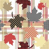 Seamless Vector Pattern With Botanical Motifs And Hounds Tooth Elements. poster