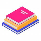 Stack Of School Books Icon. Isometric Of Stack Of School Books Vector Icon For Web Design Isolated O poster