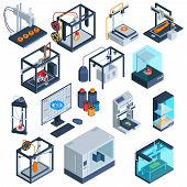 Isometric 3d Printing Set Of Isolated 3d Printer Images With Computer Modelling Software And Process poster