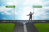 Businessman at crossroads deciding between outsourcing and inhouse poster