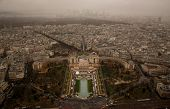 Trocadero Gardens And Chaillot Castle High View From Up Eiffel Tower - Foggy Cloudy Day In Paris, Fr poster